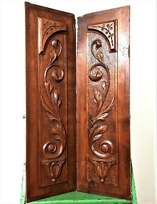 Pair bowl scroll leaves panel Antique french country farmhouse salvaged paneling