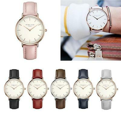 Casual Women Men Brand Quartz Analog Gold Leather Band Wrist Watches SS#CA