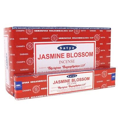 Satya Jasmine Blossom Incense (box Of 12 Packs) (3.1 x 8.7 x 5.1 In, Red)
