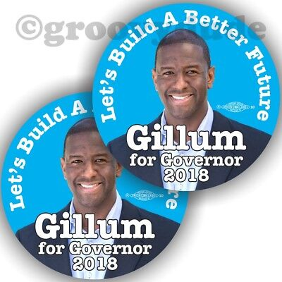 "2018 Andrew Gillum for Governor Florida 3"" Political Campaign Pin Pinback Button"