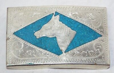 Vintage Large STERLING SILVER & TURQUOISE Horse Design Mexican BELT BUCKLE