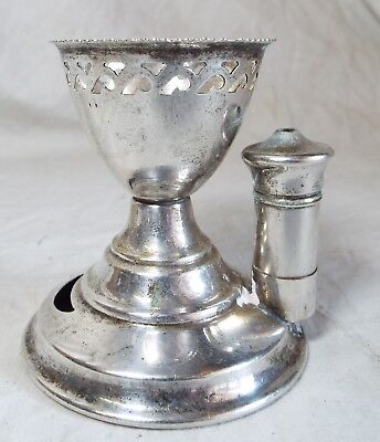 Old Antique UNUSUAL Silverplated EGG CUP W/ SALT HOLDER Hallmarked Signed