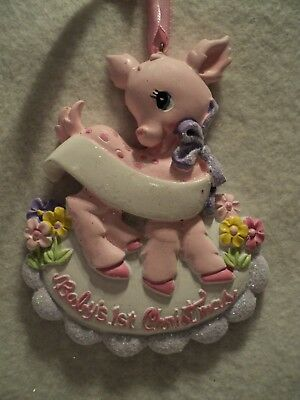 "KSA ~ ""BABY'S 1ST CHRISTMAS"" ~ BABY DEER""  ORNAMENT ~ GIRL ~ For Personalization"
