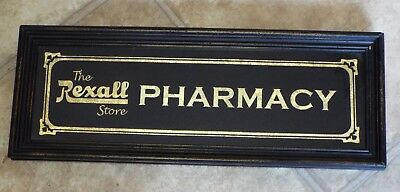 Old Antique THE REXALL STORE PHARMACY Framed Glass Advertising SIGN Gold Leaf