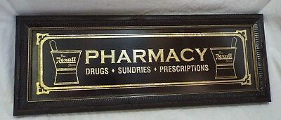 Antique Small THE REXALL STORE PHARMACY Framed Glass Advertising SIGN Gold Leaf