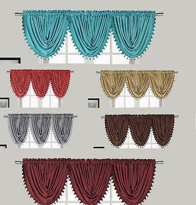 "New Luxury Waterfall Decorative Trim Window Valance  (55""x 37"") 7 COLORS"