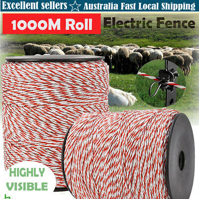 NEW 1000M Polywire Roll Electric - Fence Energiser Stainless Poly Wire Insulator