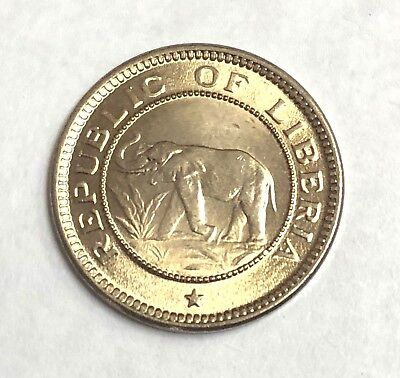 1941 LIBERIA 1/2 Cent African ELEPHANT coin, Low Mintage 1 Year Type, UNC