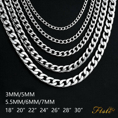 Men's Unisex 316L Stainless Steel Necklace NK Curb Cuban Chain Link