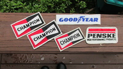 5 Vintage Automotive Racing Embroidered Patches Penske, Champion (3) Goodyear