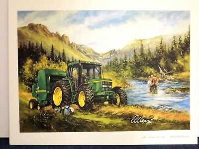 JOHN DEERE TRACTOR ART by RAY CROUSE - LUNCHTIME on the FARM - SIGNED PRINT ONLY
