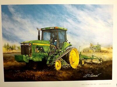 JOHN DEERE TRACTOR ART by RAY CROUSE - TRACKIN' OUR PAST - SIGNED PRINT ONLY