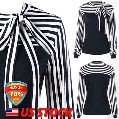 Women's Striped Long Sleeve Bow-knot Tops Office OL Vertical Ladies Blouses US