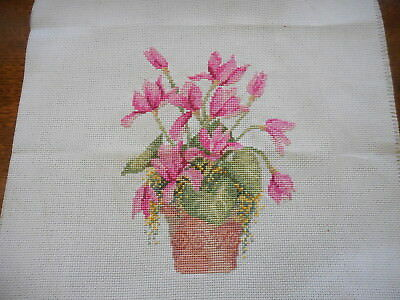 Cross Stitch Completed Pink Flowers In Bowl