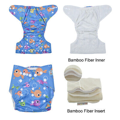 ALVABABY Bamboo Fiber Best Cloth Diapers Reusable Pocket Nappies + Bamboo Insert