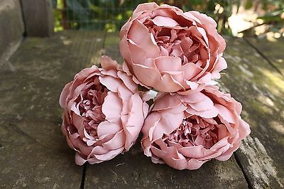 3 x DUSKY LIGHT VINTAGE PINK SILK PEONY FLOWERS  9cm LONG WIRED STEMS WEDDING