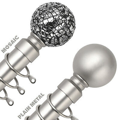 SATIN NICKEL Extendable Metal Curtain Pole Poles 28mm Includes Finials Rings
