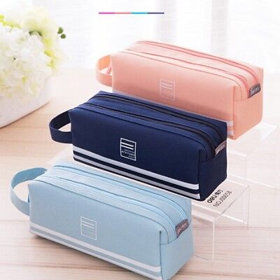 Longer Large Double Zip Fabric Pencil Case Back To School College Make Up Bag