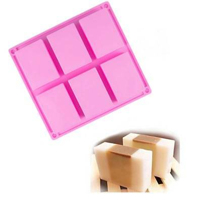 6 Cavity Pink Plain Basic Rectangle Silicone Mould for Homemade Craft Soap Mold
