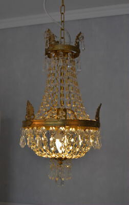 Crystal hangings chandelier lustre Empire style vintage solid brass basket new