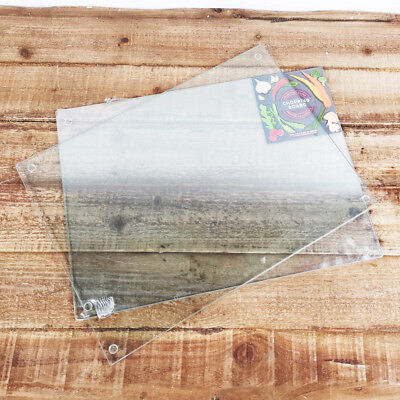 Set Of 2 Glass Chopping Board Clear Workspace Protect Cutting Worktop Kitchen