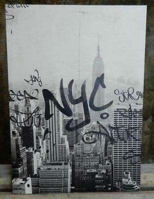 VINTAGE Black & White NYC Print on Wrapped Canvas Board 52 cm x 70 cm