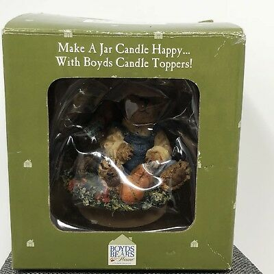 Boyds Bears Home Jar Candle Topper Huck  Pumpkins 4 Sale Style 651276