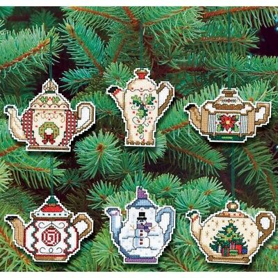 Prima Marketing 21-1486 14 Count Christmas Teapot Ornaments Counted Cross -
