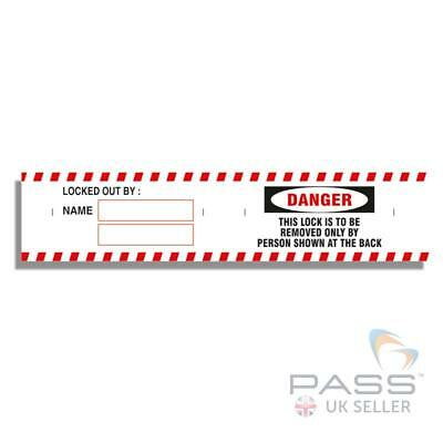 Lockout Padlock Labels - ''Danger. This Lock is to be Removed By...'' Pack of 12