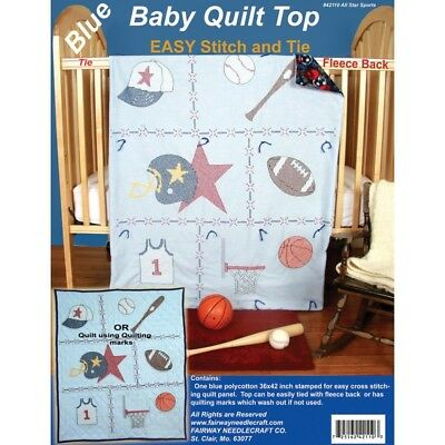 "Fairway Stamped Baby Quilt Top 36""x42""-sports - 36x42sports"