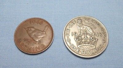 Great Britain 1948 Farthing KM 843 and a 1948 3 Shilling KM 863 - Two Coin Lot