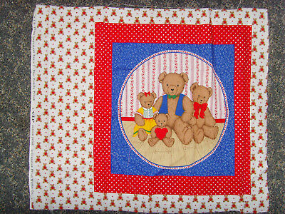 2 Bear Family Pillow VIP Sewing panel fabric for crafts teddy bear toy 16x16 set
