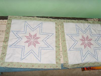 2 approx. 19x19 in star cross stitch quilt blocks squares country chic set FUN