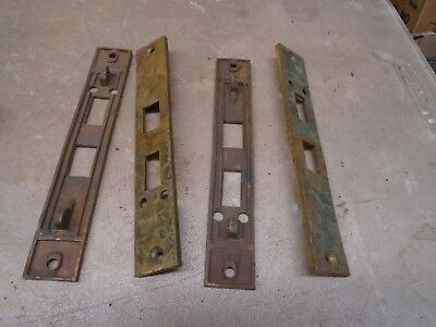 4 Old Solid Brass no. 1225 Double Lock Door Strike Plates
