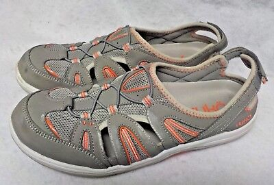 7ce0b1cee435 Size 10 Ladies Womens Ryka Close Toe Sandals Gray with Orange Accents