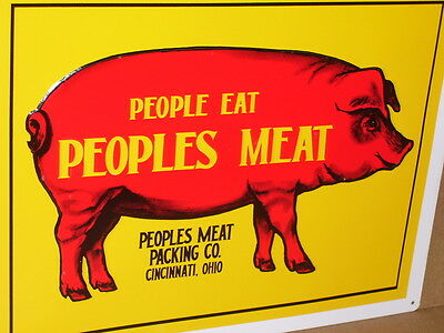 EAT PEOPLES MEAT PACKING CO Shows BIG RED Hog Pig -CINCINNATI OHIO Man Cave Sign