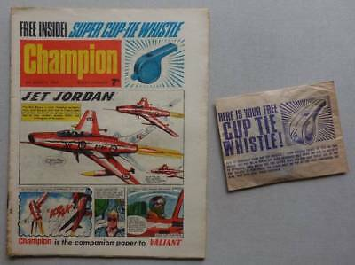 Champion comic #2 - 5 Mar 1966 + FREE GIFT Cup Tie Whistle VG/F (phil-comics)