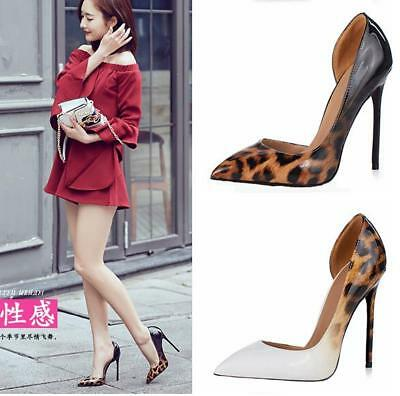 Sexy Womens Leopard High Heel Stilettos Patent Leather Pumps Shoes Clubwear