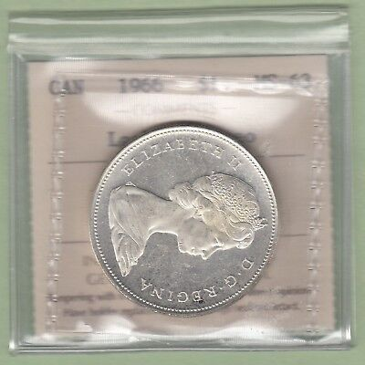 1966 Canadian One Silver Dollar Coin - Large Beads - ICCS Graded Ms-63