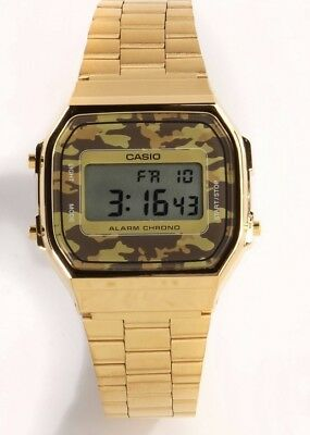 Casio A168WEGC-5 Men's Gold Stainless Steel Camouflage Watch Digital Alarm