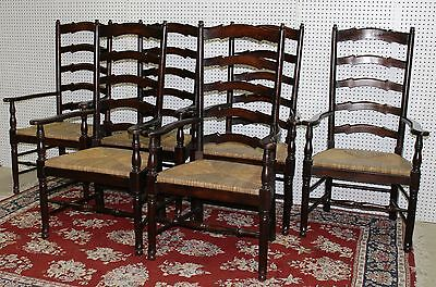 Antique Style Country French Ladder Back Dining Set of 6 Armchairs Rush Seats