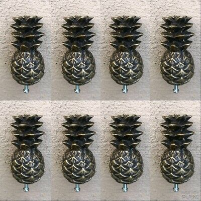8 small Pineapple handles finials aged solid Brass PULL knobs kitchens 6 cm B