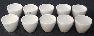 Lot of 10 COORS USA Glazed Porcelain 15mL High Form Crucibles