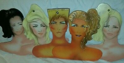 """1980s Lot of 5 """"80s Kids"""" Clothes Hangers Store Display Airbrush Cardboard Retro"""
