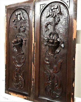 Pair country scroll leaves panel antique french carved wood salvaged paneling