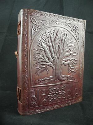Pagan Wicca TREE of LIFE A5 Handmade Leather Journal Book-of-Shadows - 7 Colours