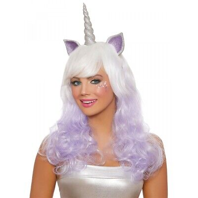 Unicorn Wig with Horn Adult Womens Halloween Costume Fancy Dress