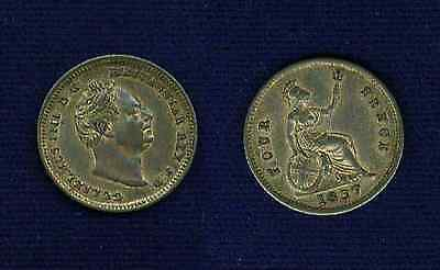 """G.b./u.k./england William Iv  1837  4 Pence Silver Coin, Also Called A """"groat"""""""