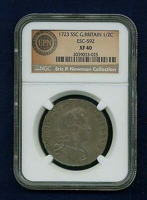 G.b./england George I 1723-Ssc Half Crown Silver Coin, Certified By Ngc Xf-40
