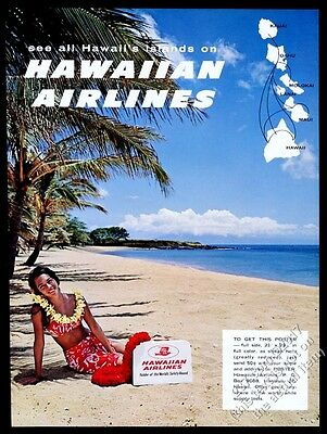 1964 Hawaiian Airlines woman on beach with flight bag photo vintage print ad